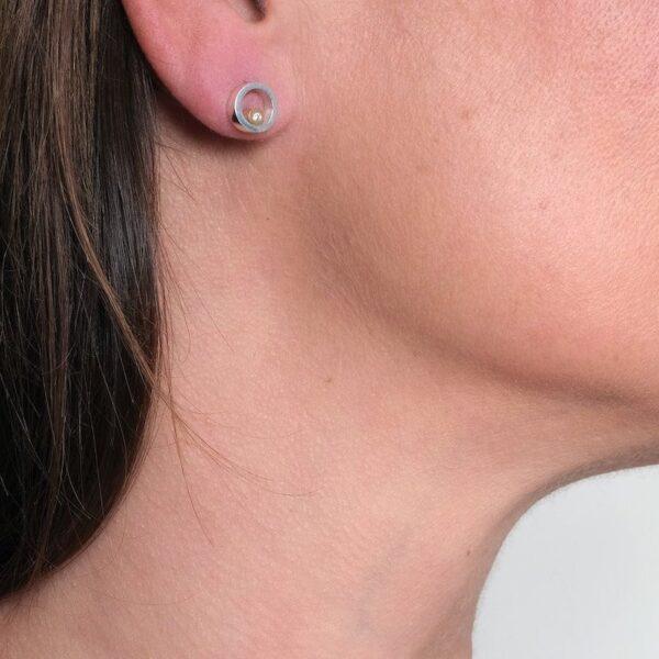 Circles Gold Diamond Stud Earrings - Maureen Lynch