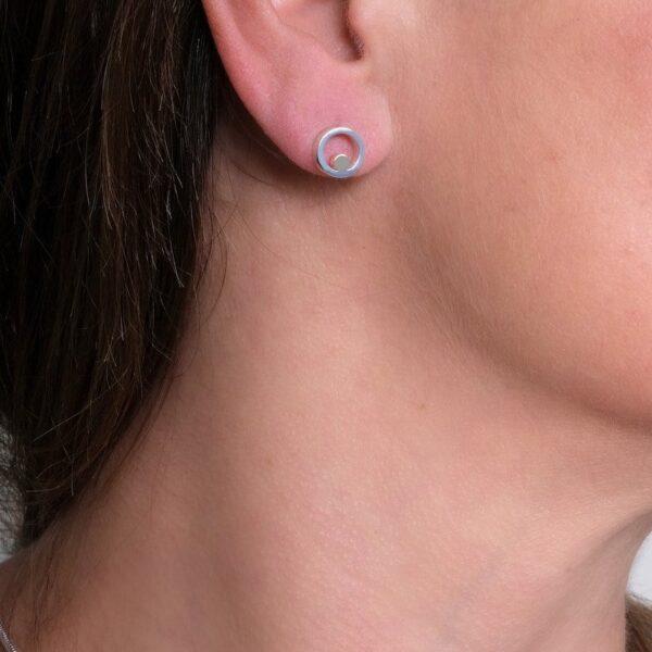 Circles Silver & Gold Stud Earrings 2 - Maureen Lynch