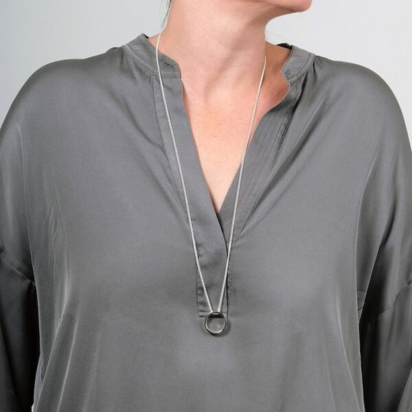Ebb & Flow Long Silver Pendant - Maureen Lynch
