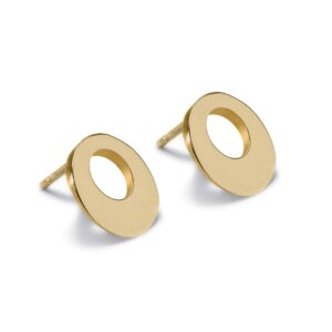 Circle of Dreams Gold Stud Earrings. Unique designer jewellery handcrafted in Ireland.