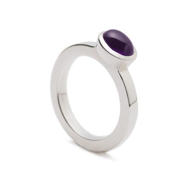 Silver Amethyst Ring.Unique designer jewellery handcrafted in Ireland.