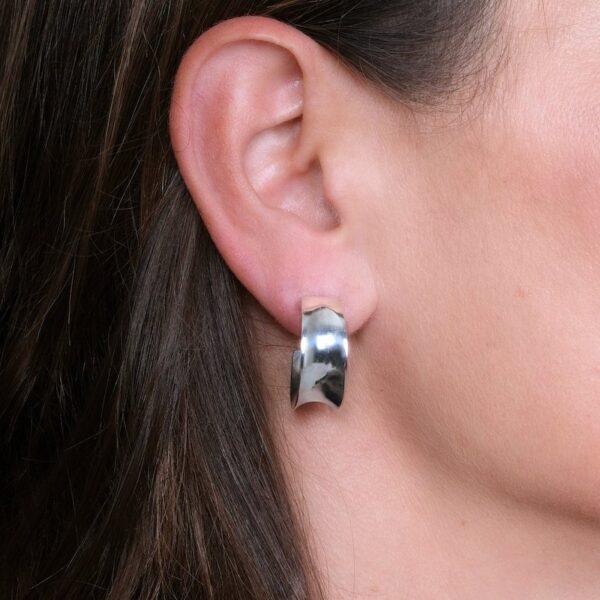 Wave Silver Cuff Earrings