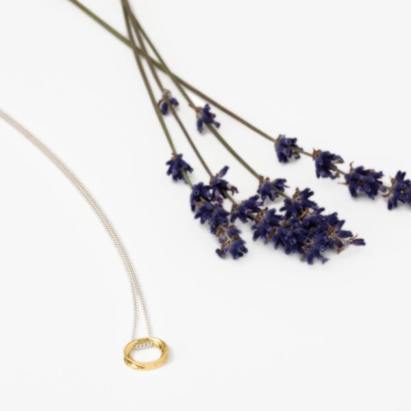 Wave mini silver & gold pendant with lavender-Maureen Lynch Jewellery